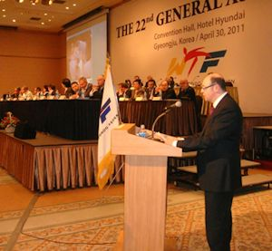 Michael Sirota of GPTU presenting at the WTF General Assembly on Para-Taekwondo on the occasion of the 2011 World Taekwondo Championships - Korea